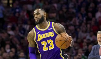 Los Angeles Lakers' LeBron James in action during the first half of an NBA basketball game against the Philadelphia 76ers, Sunday, Feb. 10, 2019, in Philadelphia. The 76ers won 143-120. (AP Photo/Chris Szagola) **FILE**