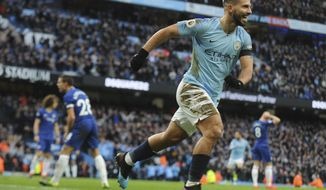 Manchester City's Sergio Aguero celebrates after scoring his side's third goal during the English Premier League soccer match between Manchester City and Chelsea at Etihad stadium in Manchester, England, Sunday, Feb. 10, 2019. (AP Photo/Rui Vieira)