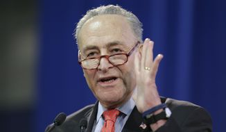 FILE - In this Sunday, Jan. 6, 2019 file photo, U.S. Senator Chuck Schumer speaks during an inauguration ceremony for the new Attorney General of New York, Letitia James, in New York. The Senate's top Democrat is introducing legislation to sanction traffickers who export fentanyl into the United States. Schumer will announce the Fentanyl Sanctions Act on Sunday, Feb. 10, 2019, in New York. (AP Photo/Seth Wenig, File)