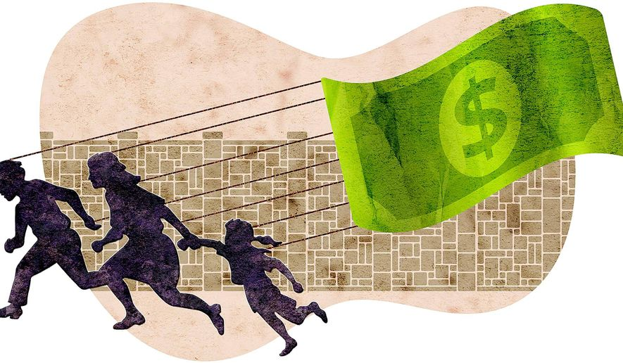 Illustration on illegal immigration's economic impact by Greg Groesch/The Washington Times