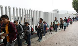 """This July 26, 2018, file photo shows people lining up to cross into the United States to begin the process of applying for asylum near the San Ysidro port of entry in Tijuana, Mexico. Homeland Security's watchdog says immigration officials were not prepared to manage the consequences of its """"zero tolerance"""" policy at the border this summer that resulted in the separation of nearly 3,000 children from parents. (AP Photo/Gregory Bull, File)"""