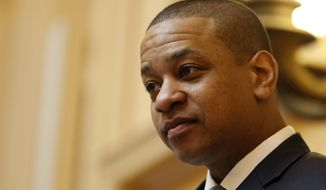 Virginia Lt. Gov. Justin Fairfax, presides over the Senate session at the Capitol in Richmond, Va., Monday, Feb. 11, 2019. Fairfax has been facing sexual assault charges. (AP Photo/Steve Helber)