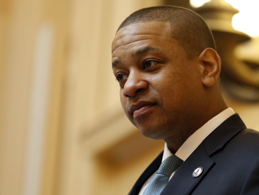 Virginia Lt. Gov. Justin Fairfax, presides over the Senate session at the Capitol in Richmond, Va., Monday, Feb. 11, 2019. Fairfax has been facing sexual assault charges. (AP Photo/Steve Helber) **FILE**