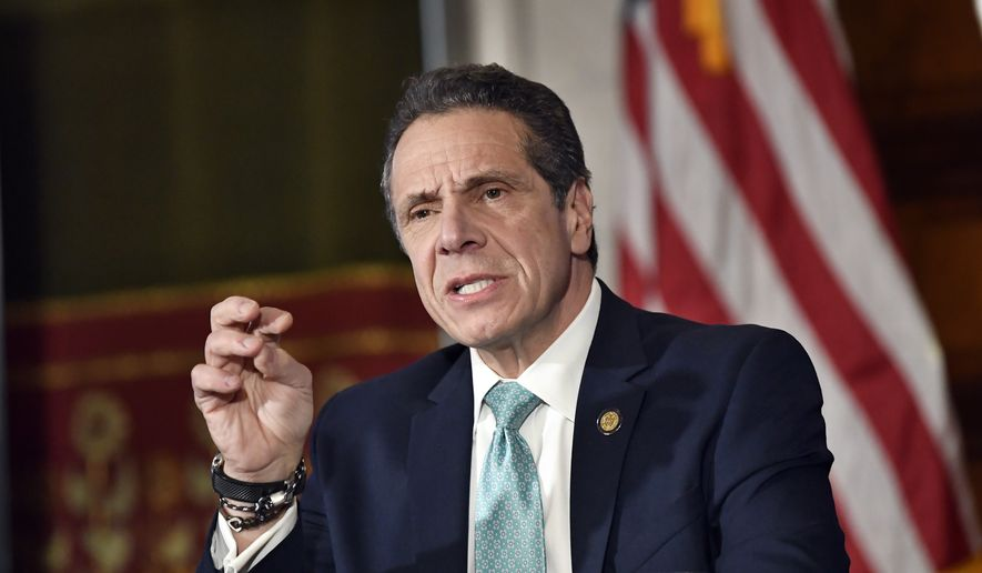 New York Gov. Andrew Cuomo talks about his upcoming meeting with President Donald Trump as New York pays more in taxes to the federal government than any other state during a news conference in the Red Room at the state Capitol Monday, Feb. 11, 2019, in Albany, N.Y. (AP Photo/Hans Pennink)