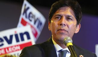 FILE - In this Nov. 6, 2018 file photo, California state Sen. Kevin de Leon, Democratic candidate for the U.S. Senate, thanks his supporters as he concedes the race to his opponent, incumbent Democrat Dianne Feinstein, in Los Angeles. The former Democratic state senator has set his sights on Los Angeles City Hall. The Los Angeles Times reports that de Leon said Monday, Feb. 11, 2019 that he plans to run to replace Councilman Jose Huizar, whose district includes downtown Los Angeles and is being forced out by term limits. (AP Photo/Reed Saxon, File)