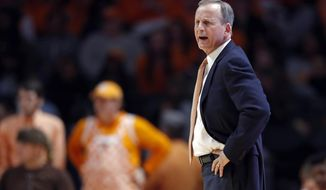 Tennessee head coach Rick Barnes looks on during the first half of an NCAA college basketball game against Missouri Tuesday, Feb. 5, 2019, in Knoxville, Tenn. (AP photo/Wade Payne)