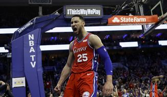 Philadelphia 76ers' Ben Simmons reacts after being fouled during the second half of the team's NBA basketball game against the Denver Nuggets, Friday, Feb. 8, 2019, in Philadelphia. Philadelphia won 117-110. (AP Photo/Matt Slocum) **FILE**