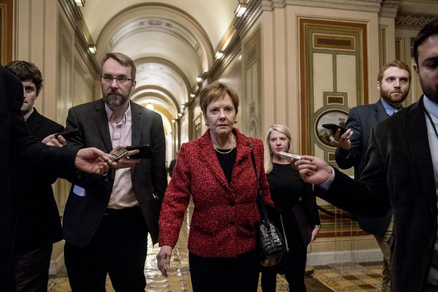 Rep. Kay Granger, R-Texas, ranking member of the House Appropriations Committee, speaks to reporters on Capitol Hill, Monday, Feb. 11, 2019, in Washington. (AP Photo/Andrew Harnik) ** FILE **