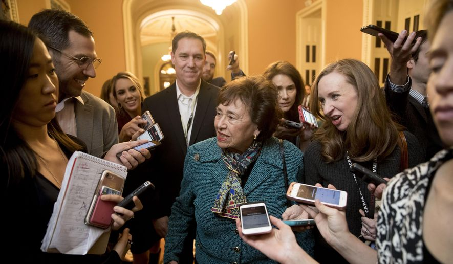 House Appropriations Committee Chair Nita Lowey, D-N.Y., speaks to reporters as she walks out of a closed-door meeting at the Capitol as bipartisan House and Senate bargainers trying to negotiate a border security compromise hope to avoid another government shutdown on Capitol Hill, Monday, Feb. 11, 2019, in Washington. (AP Photo/Andrew Harnik)