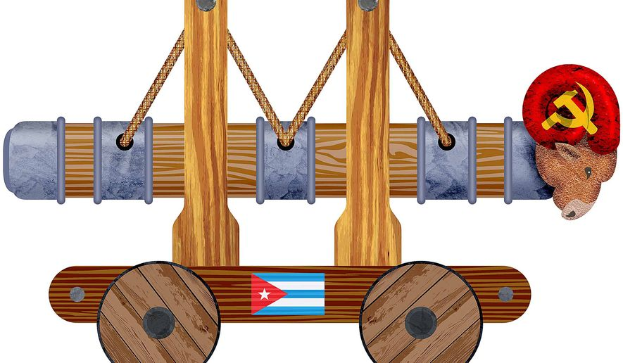 Cuba Battering Ram Illustration by Greg Groesch/The Washington Times