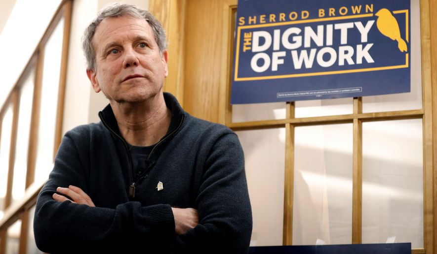 """Sen. Sherrod Brown said he's not ready to go all-in on a health plan led by Rep. Alexandria Ocasio-Cortez, but agrees with a """"universal health care."""" (Associated Press)"""