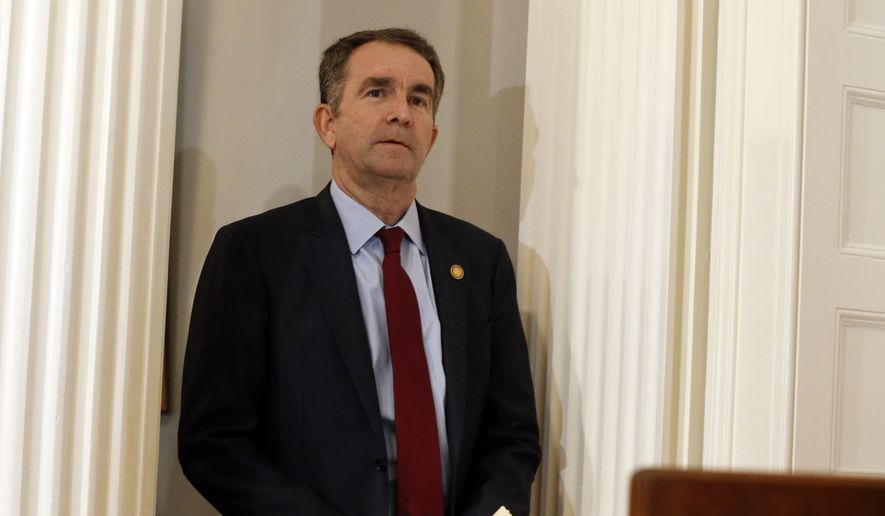 Virginia Gov. Ralph Northam arrives for a news conference in the Governor's Mansion in Richmond, Va., on Saturday, Feb. 2, 2019. (AP Photo/Steve Helber) ** FILE **