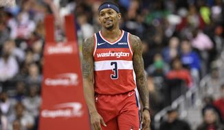 Washington Wizards guard Bradley Beal (3) stands on the court during the second half of an NBA basketball game against the Cleveland Cavaliers, Friday, Feb. 8, 2019, in Washington. The Wizards won 119-106. (AP Photo/Nick Wass) ** FILE **