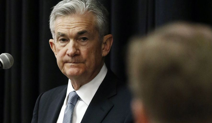 Federal Reserve Chairman Jerome Powell, listens to a attendee's question following his address to a rural policy forum at historically black Mississippi Valley State University in Itta Bena, Miss., Tuesday, Feb. 12, 2019. (AP Photo/Rogelio V. Solis)