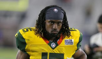 Arizona Hotshots wide receiver Rashad Ross (15) in the second half during an AAF football game against the Salt Lake Stallions, Sunday, Feb. 10, 2019, in Tempe, Ariz. (AP Photo/Rick Scuteri) **FILE**