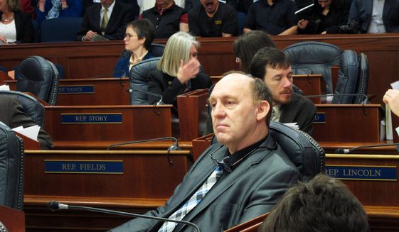Alaska state Rep. Gary Knopp waits during a break in a floor session in which the House failed to elect a permanent speaker, Tuesday, Feb. 12, 2019, in Juneau, Alaska. Knopp was one of the nominees put forth for speaker. (AP Photo/Becky Bohrer)