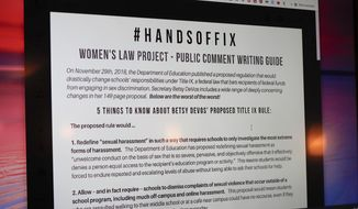 FILE - In this Jan. 23, 2019, file photo, a screen with information from the Women's Law Project shows information on some of the proposed changes to the implementation of Title IX as it pertains to the sexual abuse regulations in education at the NOW monthly meeting in Monaca, Pa. Several of the nation's largest universities receive more sexual assault complaints from off-campus than from school property, but their obligation to address off-campus cases could be dramatically reduced under a federal proposal. (AP Photo/Keith Srakocic, File)