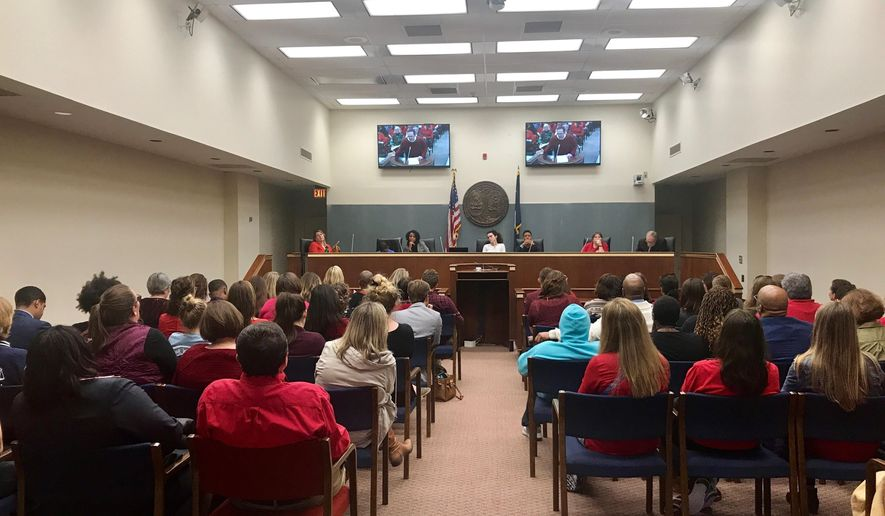 Educators, students and school officials fill two overflow spaces Tuesday, Feb. 12, 2019 during a South Carolina House education subcommittee meeting in Columbia, S.C. (AP Photo/Christina L. Myers)