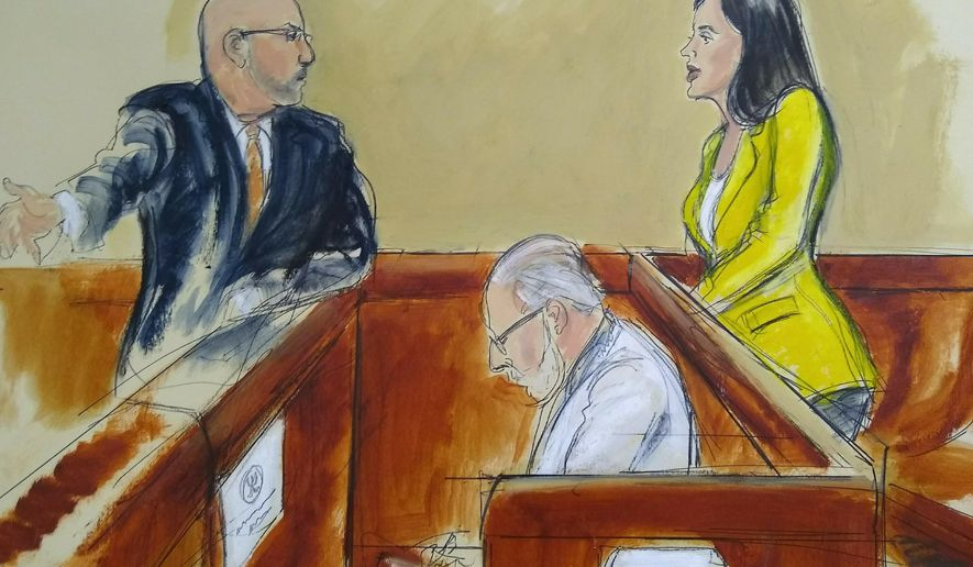 """In this courtroom drawing, Emma Coronel Aispuro, right, wife of Joaquin """"El Chapo"""" Guzman, confers with Eduardo Balarezo, Guzman's lead defense attorney during jury deliberations, Monday, Feb. 11, 2019, in New York. Jurors finished a fifth day of deliberations without a verdict on Monday at the U.S. trial of Guzman. (Elizabeth Williams via AP)"""