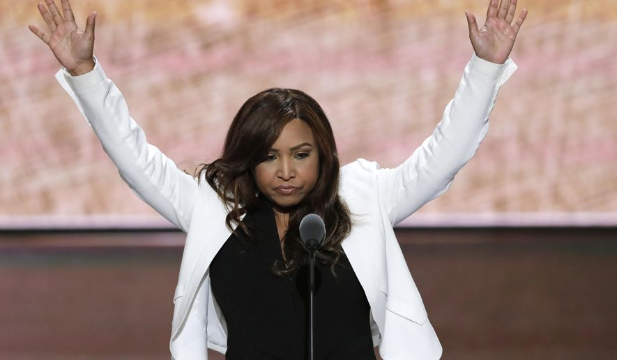 In this July 20, 2016, file photo, Lynne Patton of the Eric Trump Foundation waves during her speech at the Republican National Convention in Cleveland. (AP Photo/J. Scott Applewhite, File)