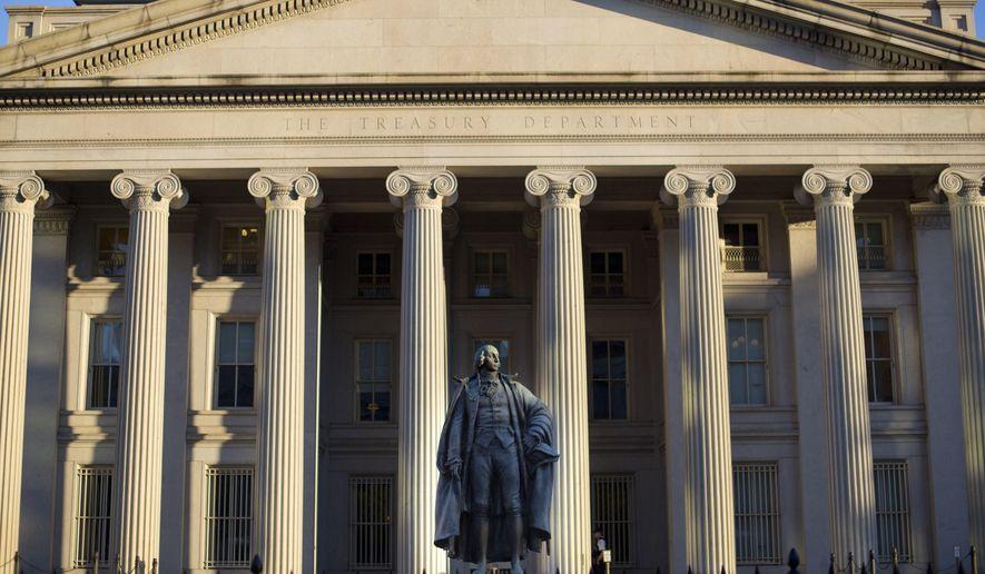 This June 8, 2017, file photo shows the U.S. Treasury Department building in Washington.  (AP Photo/Pablo Martinez Monsivais, File) **FILE**
