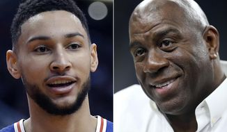 FILE - At left, in a Jan. 2, 2019, file photo, Philadelphia 76ers guard Ben Simmons is shown in the first half of an NBA basketball game against the Phoenix Suns, in Phoenix. At right, in a March 8, 2018, file photo, Magic Johnson attends an NCAA college basketball game in the quarterfinals of the Pac-12 men's tournament, in Las Vegas. The NBA is going to investigate whether league rules were broken when Philadelphia's Ben Simmons inquired about meeting with Los Angeles Lakers president Magic Johnson for playing tips. League spokesman Mike Bass said Monday, Feb. 11, 2019, that the NBA will look at the matter. (AP Photo/File) **FILE**