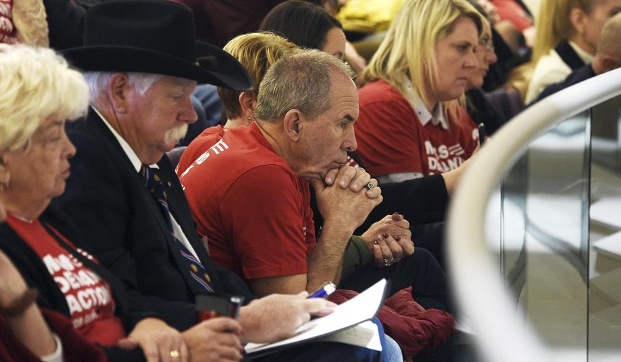 Members of a Nevada chapter of Moms Demand Action attend a hearing for Senate Bill 143 at the Nevada Legislature Building in Carson City, Nev. Tuesday, Feb. 12, 2019. Survivors of a 2017 mass shooting at a Las Vegas music festival spoke Tuesday in support of a Nevada bill expanding gun background checks to private gun sales and transfers.  (Jason Bean/The Reno Gazette-Journal via AP)