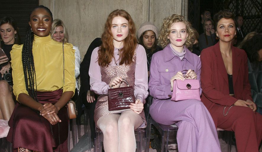 25a29bc9e Kiki Layne, from left, Sadie Sink, Julia Garner and Maggie Gyllenhaal  attend the NYFW Fall/Winter 2019 Kate Spade fashion show at the Cipriani's  on Friday, ...