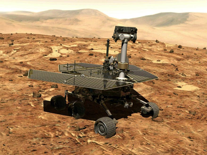 This illustration made available by NASA shows the rover Opportunity on the surface of Mars. The exploratory vehicle landed on Jan. 24, 2004, and logged more than 28 miles (45 kilometers) before falling silent during a global dust storm in June 2018. There was so much dust in the Martian atmosphere that sunlight could not reach Opportunity's solar panels for power generation. (NASA via AP)