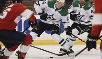 Dallas Stars left wing Roope Hintz (24) skates to the puck during the first period of an NHL hockey game against the Florida Panthers, Tuesday, Feb. 12, 2019, in Sunrise, Fla. (AP Photo/Brynn Anderson)