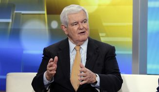 "In this May 24, 2018, file photo, former Speaker of the House Newt Gingrich is interviewed on the ""Fox & Friends"" television program, in New York. Speaking at the Japan Summit and Leadership Conference in Nagoya, Japan, on Oct. 5, 2019, Mr. Gingrich urged Japan and South Korea to iron out their differences to be an effective three-nation counterweight, along with the United States, against regional power China.  (AP Photo/Richard Drew, File)"