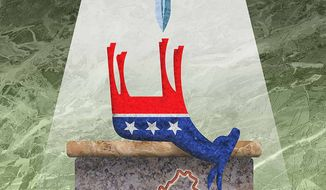Sacrifice at the Altar Illustration by Greg Groesch/The Washington Times