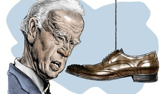 Illustration on Joe Biden by Alexander Hunter/The Washington Times