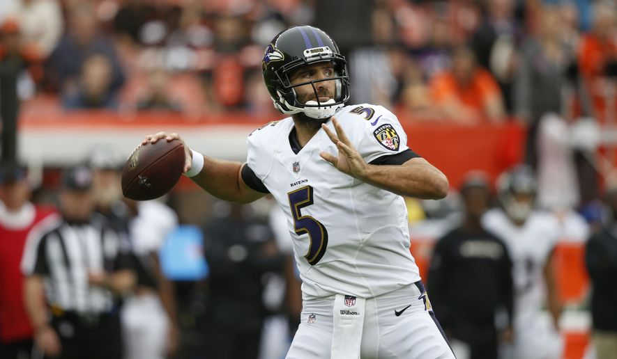 FILE - In this Oct. 7, 2018, file photo, Baltimore Ravens quarterback Joe Flacco throws during the first half of an NFL football game against the Cleveland Browns, in Cleveland.  A person with knowledge of the trade tells The Associated Press, Wednesday, Feb. 13, 2019, that the Denver Broncos have agreed to acquire Baltimore Ravens quarterback Joe Flacco in exchange for a fourth-round pick in this year's NFL draft. The person spoke on condition of anonymity because neither team announced the deal.(AP Photo/Ron Schwane, File)