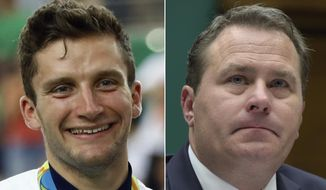 FILE - At left, in an Aug. 14, 2016, file photo, silver medalist Callum Skinner smiles during the podium ceremony for the men's cycling sprint final at the 2016 Summer Olympics in Rio de Janeiro, Brazil. At right, in a Feb. 28, 2017, file photo, then-World Anti-Doping Agency Deputy Director General Rob Koehler testifies on Capitol Hill in Washington. An Olympic gold medalist and a former executive at the World Anti-Doping Agency are forming an organization designed to give athletes a stronger voice in the struggle against doping and the powers that police it. The group, called Global Athlete, is being organized by British cyclist Callum Skinner. Rob Koehler, who suddenly quit his post as deputy director general at WADA last year, will be the group's director general. (AP Photo/File)