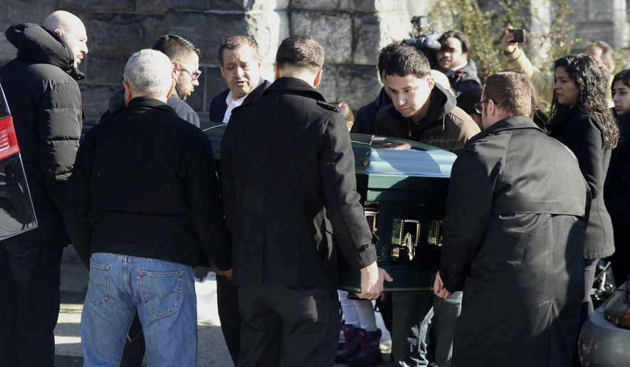 Pallbearers carry the casket of homicide victim Valerie Reyes into her funeral mass at St. Gabriel's Church in New Rochelle, N.Y. Tuesday, Feb. 12, 2019. Reyes, 24, of New Rochelle, N.Y., was found in a suitcase in Greenwich, Conn. on Tuesday, Feb. 5. Police arrested Javier da Silva, of  Queens, N.Y., in connection with the killing. (Tyler Sizemore/Heast Connecticut Media)