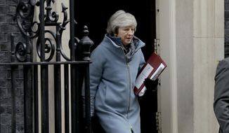 British Prime Minister Theresa May leaves 10 Downing Street in London, to attend Prime Minister's Questions at the Houses of Parliament, Wednesday, Feb. 13, 2019. (AP Photo/Matt Dunham)