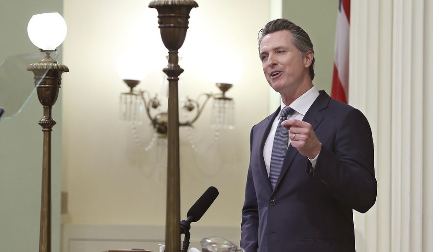 California Gov. Gavin Newsom delivers his first state of the state address to a joint session of the legislature at the Capitol in Sacramento, California, Feb. 12, 2019. (AP Photo/Rich Pedroncelli) ** FILE **