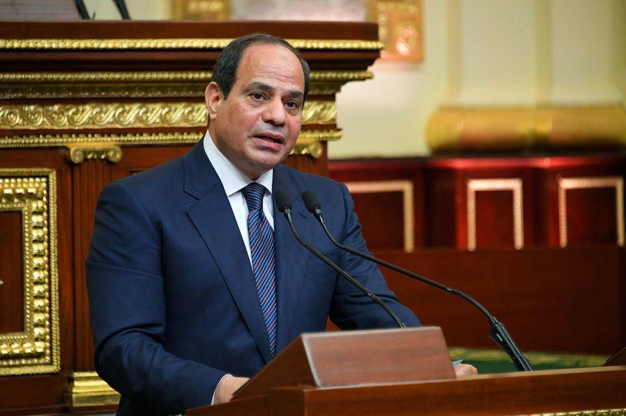 FILE - In this June 2, 2018 file photo provided by Egypt's presidency media office, Egyptian President Abdel-Fattah el-Sissi addresses the chamber after he was sworn in for a second four-year term in Cairo, Egypt. On Wednesday, Feb 13, 2019, Egypt's Parliament began deliberations over constitutional amendments that could allow el-Sissi to stay in office till 2034 — 12 more years after his current, second term expires in 2022.  (Egyptian Presidency Media office via AP, File)