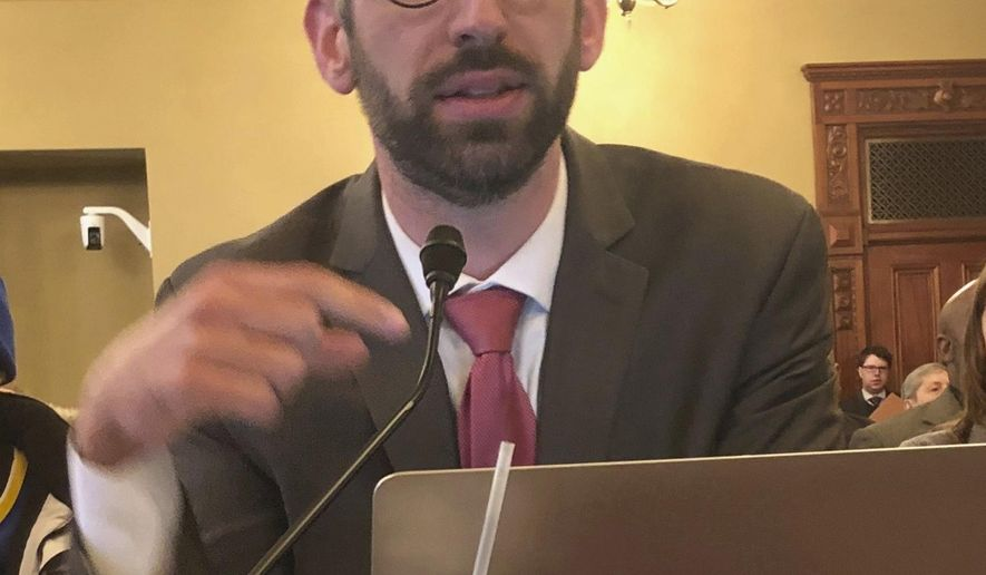 Illinois state Rep. Will Guzzardi, D-Chicago, testifies before the Labor and Commerce Committee Wednesday, Feb. 13, 2019 on his proposal to increase the minimum wage to $15 by 2025.  (AP Photo/John O'Connor )