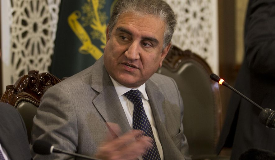 Pakistan Foreign Minister Shah Mahmood Qureshi briefs journalists about the upcoming visit by Saudi Arabia's Crown Prince to Pakistan, in Islamabad, Pakistan, Wednesday, Feb. 13, 2019. Pakistan said Wednesday that Crown Prince Mohammed bin Salman will arrive in Islamabad later this week on an official visit that is expected to include the signing of agreements for billions of dollars of investment in Pakistan. (AP Photo/B.K. Bangash)