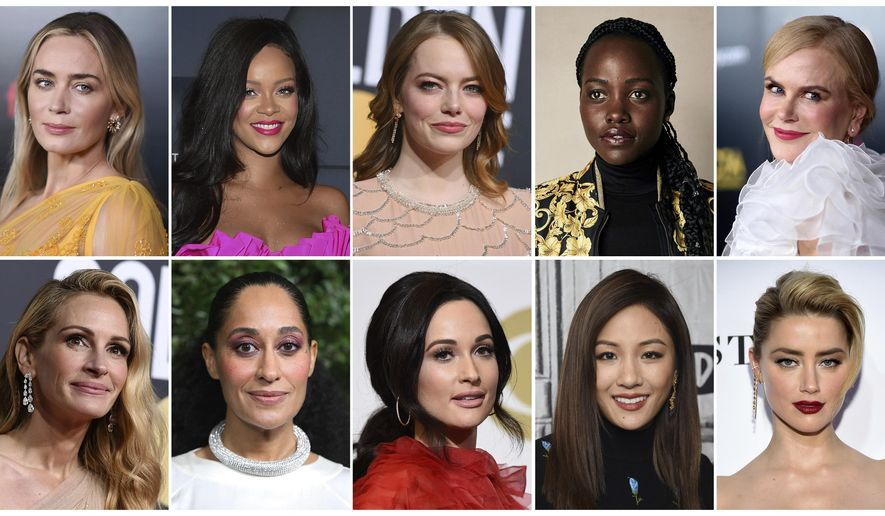 This combination of photos shows entertainers, from top left, Emily Blunt, Rihanna, Emma Stone, Lupita Nyong'o, Nicole Kidman, and bottom from left, Julia Roberts Tracee Ellis Ross, Kacey Musgraves, Constance Wu and Amber Heard, who were named Hollywood's most stylish stars by People Magazine. The magazine is on newsstands Friday. (AP Photo)