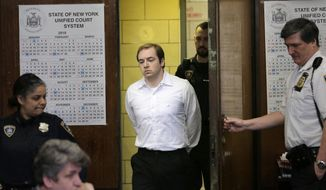 James Jackson appears in court for sentencing in New York, Wednesday, Feb. 13, 2019. Jackson, a white supremacist, pled guilty to killing a black man with a sword as part of a racist plot that prosecutors described as a hate crime and was sentenced to life in prison without parole. (AP Photo/Seth Wenig)