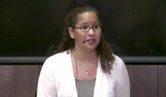 This image taken from video from Center for Advanced Study in the Behavioral Sciences at Stanford University, shows Vanessa Tyson speaking at a Stanford University symposium on Tuesday, Feb. 12, 2019, in Stanford, Calif. (CASBS/Stanford University via AP) ** FILE **