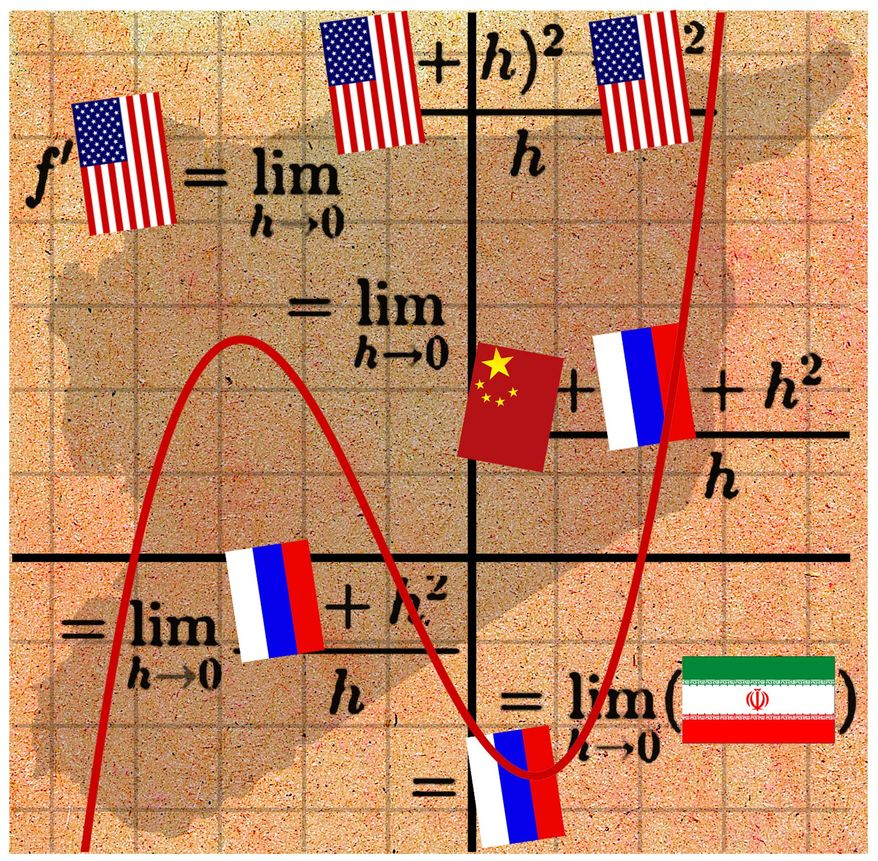 Illustration on the strategic calculus of continued U.S. presence in Syria by Alexander Hunter/The Washington Times