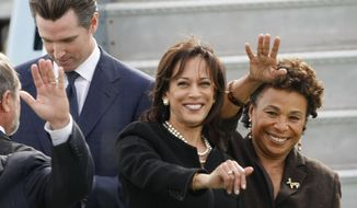 Rep. Barbara Lee, right,  (D-Oakland), San Francisco District Attorney Kamala Harris, center, who is running for California Attorney General, and San Francisco Mayor Gavin Newsom, left, who is running for Calif. Lt. Gov., wave to President Obama after arriving in San Francisco, Thursday, Oct. 21, 2010, for fundraising events. (AP Photo/Paul Sakuma) **FILE**