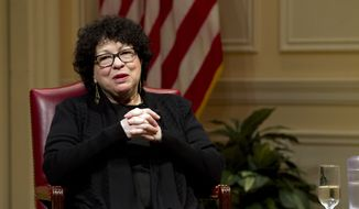 Supreme Court Justice Sonia Sotomayor speaks during the 2019 Supreme Court Fellows Program annual lecture at the Library of Congress, in Washington Thursday, Feb. 14, 2019. (AP Photo/Jose Luis Magana)