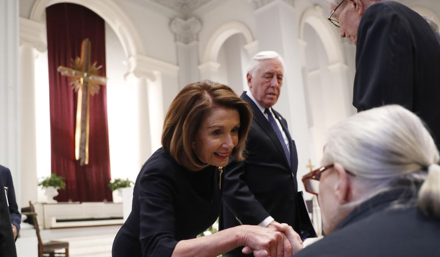 In this file photo, House Speaker Nancy Pelosi and Rep. Steny Hoyer, D-Md., greet family members before a funeral service for former Rep. John Dingell, Thursday, Feb. 14, 2019, at Holy Trinity Catholic Church in Washington. (AP Photo/Pablo Martinez Monsivais, Pool)  **FILE**