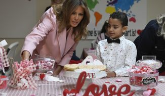 First lady Melania Trump talks with Josue during her visit to the National Institutes of Health to see children at the Children's Inn in Bethesda, Md., Thursday, Feb. 14, 2019, and celebrate Valentine's Day. (AP Photo/Susan Walsh)