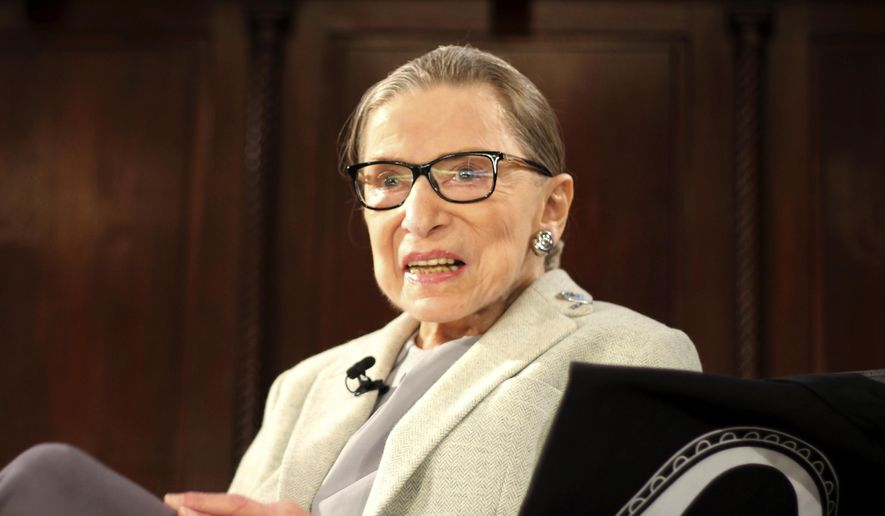 In this Dec. 15, 2018, file photo, Supreme Court Justice Ruth Bader Ginsburg appears at an event organized by the Museum of the City of New York with WNET-TV held at the New York Academy of Medicine in New York. (AP Photo/Rebecca Gibian, File)
